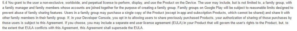 Google Play Developer Distribution Agreement: Create EULA, but it should not conflict