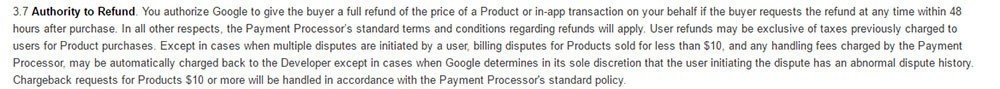 Authority to Refund by Google in Google Play Store Distribution Agreement
