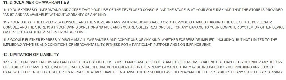 Disclaimer of warranties clause in Google Play Store Distribution Agreement