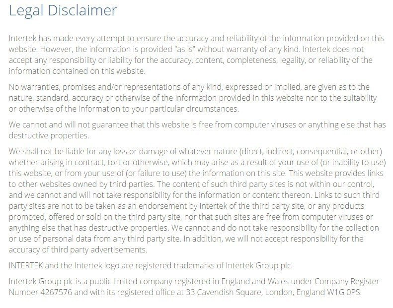 sample disclaimer template   termsfeed screenshot of legal disclaimer page from intertek