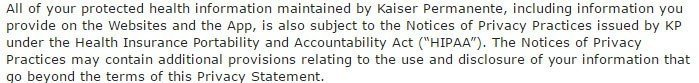 Reference to HIPAA in Kaiser Permanente Privacy Statement