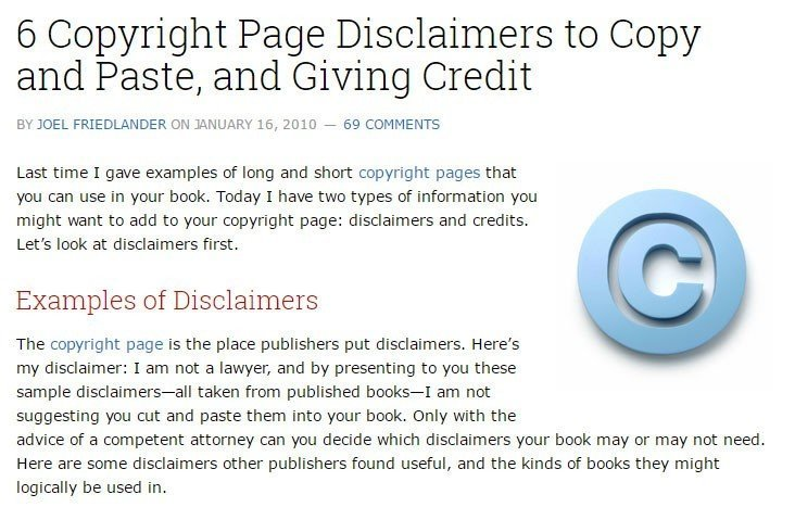 copyright template for book - sample disclaimer template termsfeed