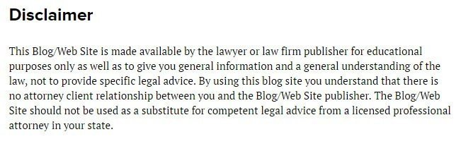 Example of disclaimer from Lexblog