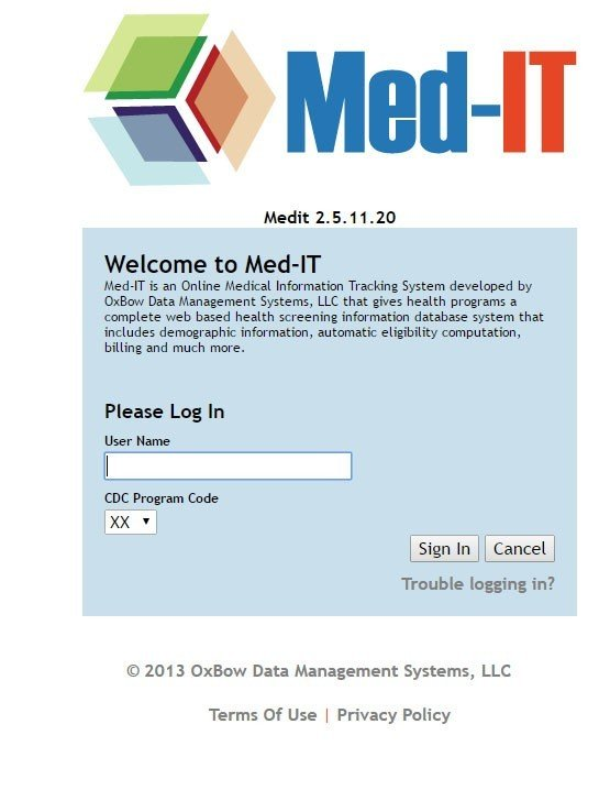Screenshot of Med-IT login page