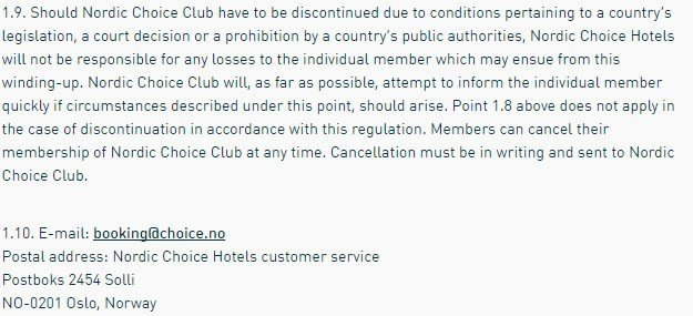 Liability Disclaimer from Nordic Choice Hotels Terms and Conditions