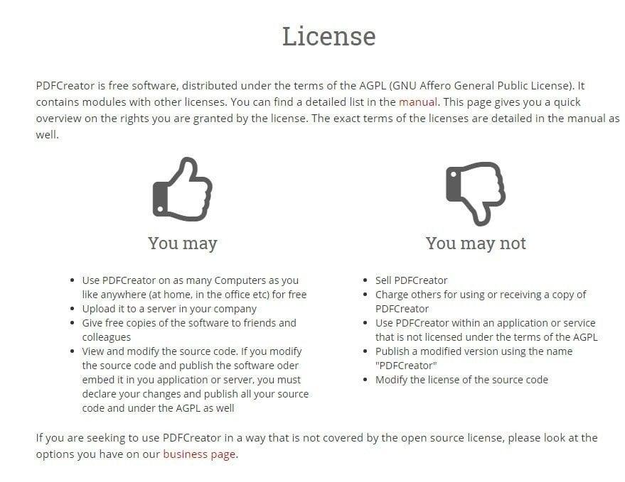 Screenshot of PDFCreator GNU License page