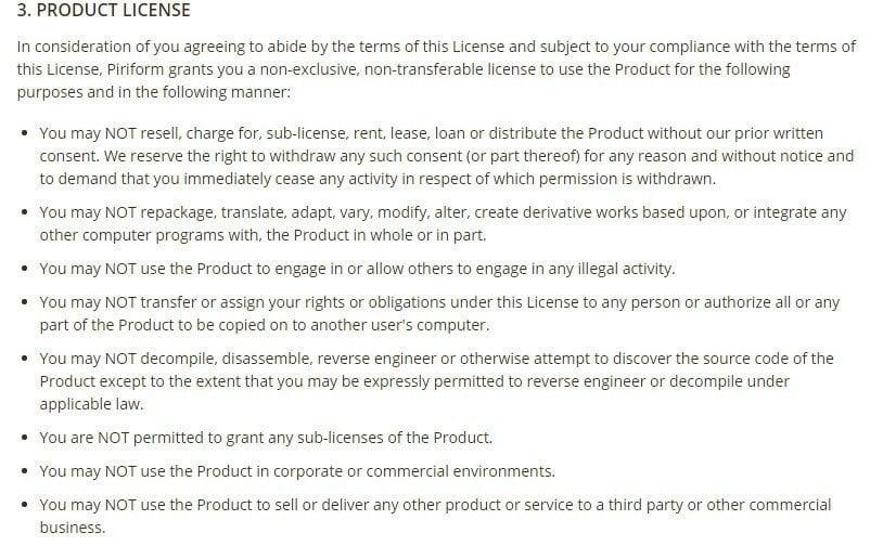 Piriform CCleaner Free: Screenshot of EULA License