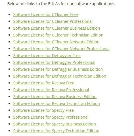 List of EULA agreements by Piriform