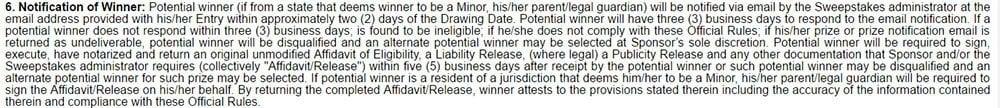 Priceline: Notification of winner in sweepstakes