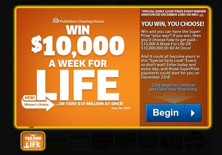 Example of sweepstakes from Publishers Clearing House
