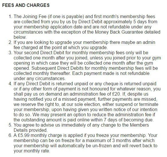 Fees and charges in Pure Gym Terms and Conditions