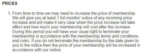 Prices section in Pure Gym Terms and Conditions