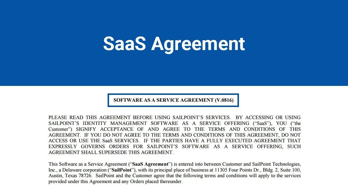 Software As A Service Agreement Template