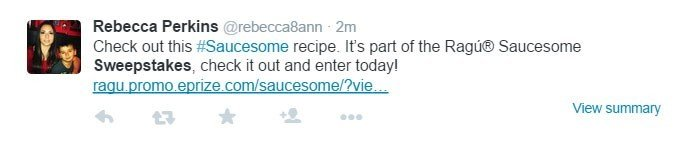 Example of sweepstakes in tweet from Saucesome