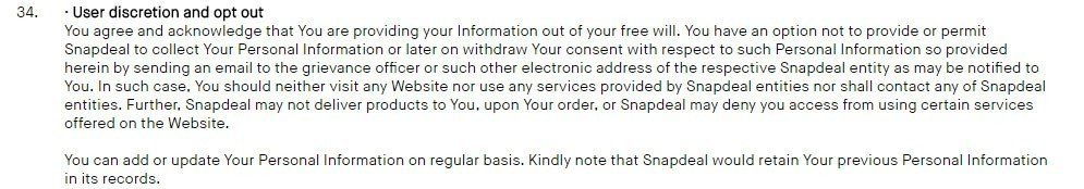 Snapdeal: Consent to Privacy Policy