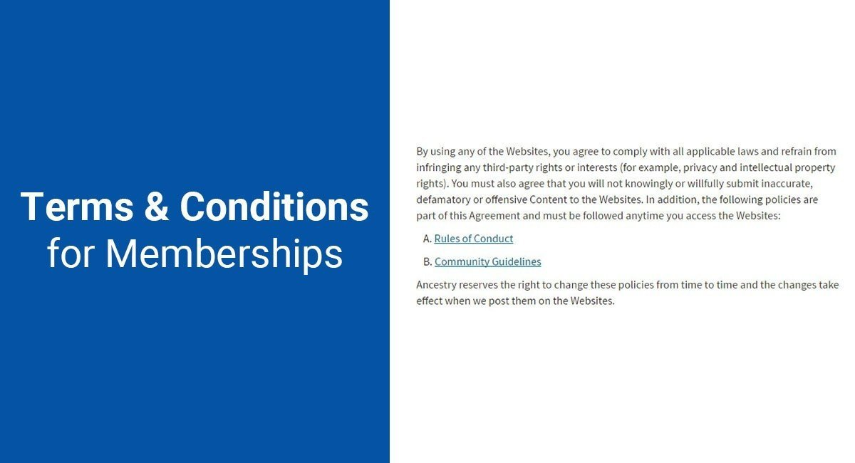 Terms & Conditions for Memberships