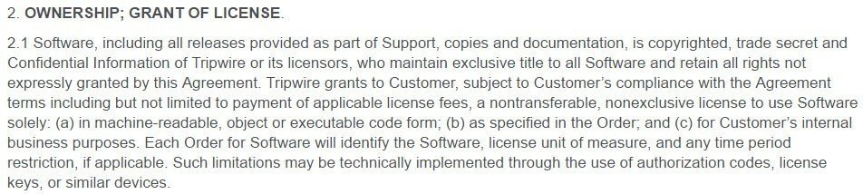 Tripwire EULA: Ownership and Grant of License clause