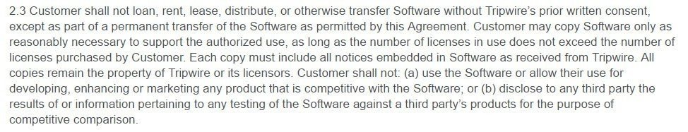 Tripwire EULA: Restrictions on Distributions and Copies