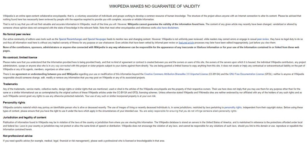 sample disclaimer template termsfeedexample of no guarantee disclaimer from wikipedia