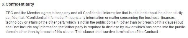 Confidentiality clause in Zoopla Terms and Conditions