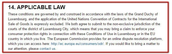 Amazon EU Conditions of Use: Applicable Law