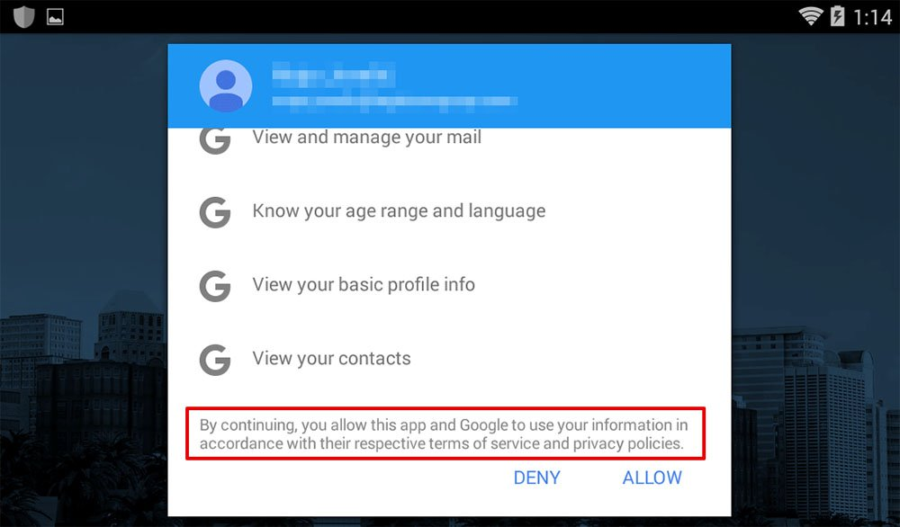 BlueMail method of clickwrap at create an account screen: Agree to use of data by app and Google