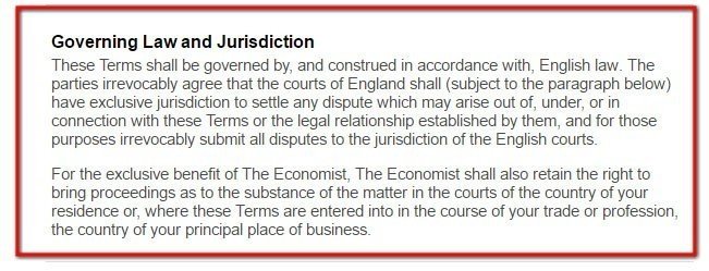 Economist Terms of Use and its Governing Law clause