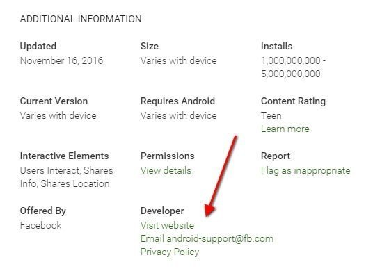 Facebook Android App on Play Store: Link to Privacy Policy