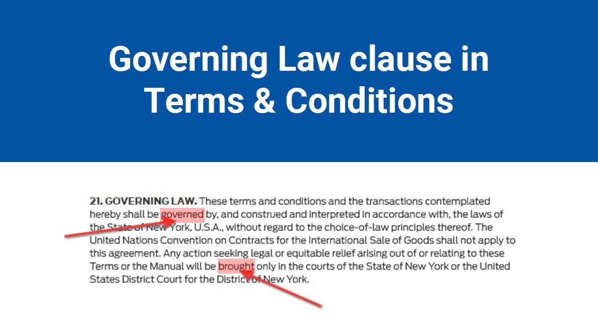 Governing Law Clause in Terms & Conditions