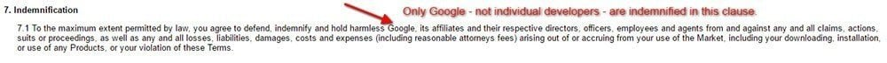 Indemnification clause in Android Market Terms of Service