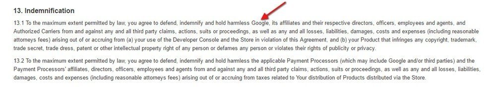 Example of indemnification clause from Google Play Store Developer Distribution Agreement