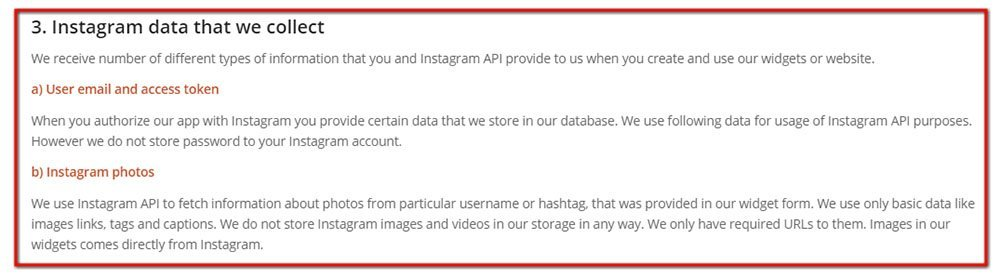 Instagram data we collect clause in Privacy Policy of Lightwidget