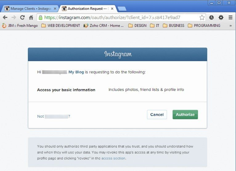 Instagram webpage: Authorize and confirmation