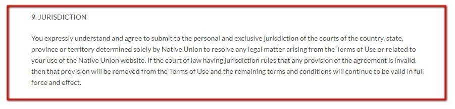 Native Union Terms of Use: Jurisdiction clause