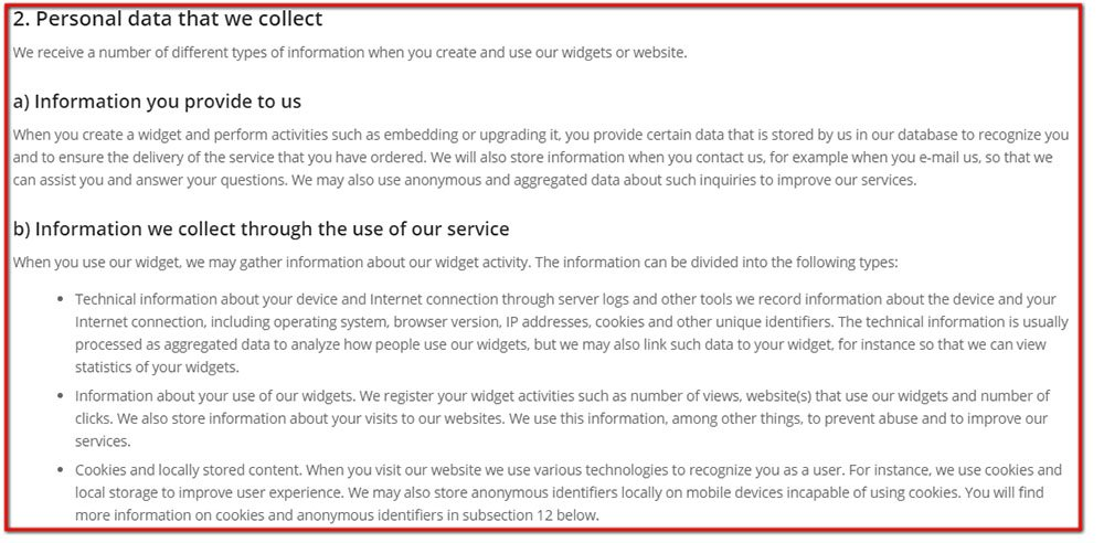 Personal data we collect in Privacy Policy of Lightwidget