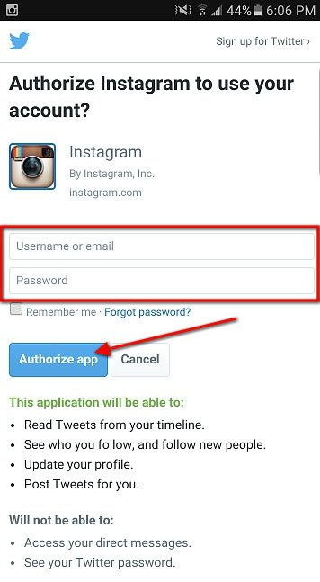 Twitter: Authorize Instagram