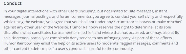 User Conduct in Terms and Conditions of OKCupid