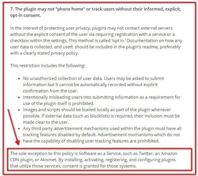WordPress Plugin Guidelines, Section 7 exception addresses Privacy Policy for SaaS
