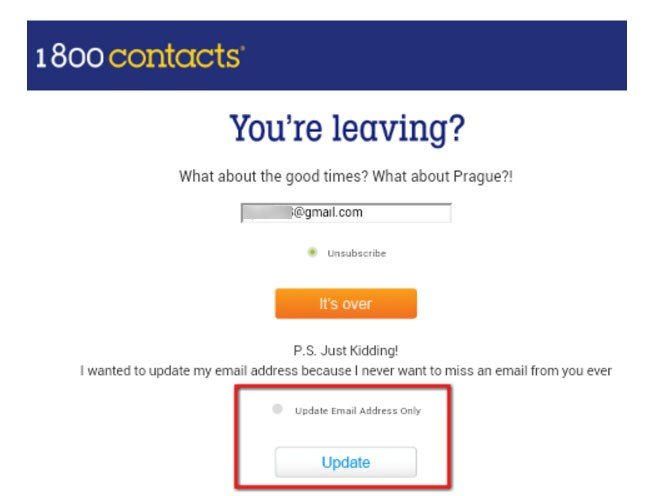 Update email only on the landing page to unsubscribe from 1800Contacts