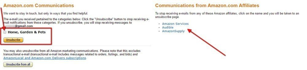 Landing page to unsubscribe from Amazon email list