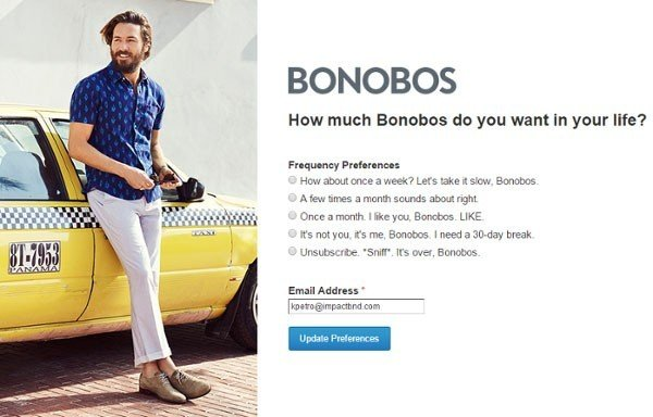 Landing page to unsubscribe from Bonobos email list