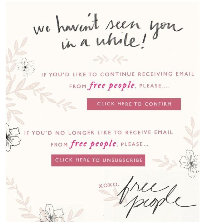 Email from Free People to subscribers who haven