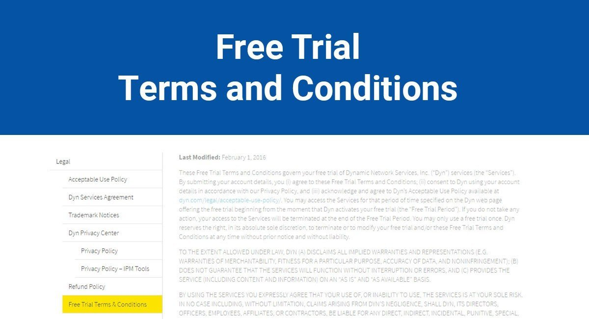 Free Trial Terms and Conditions - TermsFeed