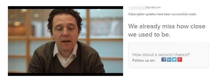 HubSpot Unsubscribed landing page: We already miss video