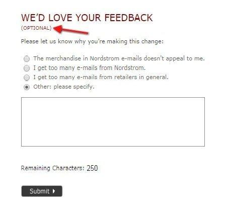 Nordstrom: Feedback form after unsubscribed