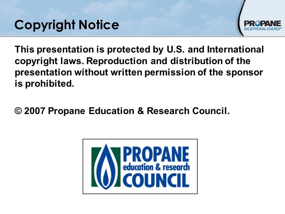 Example of copyright notice in presentation from Propane Council
