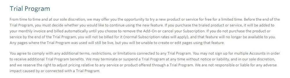 Unbounce: Trial Program clause in Terms & Conditions