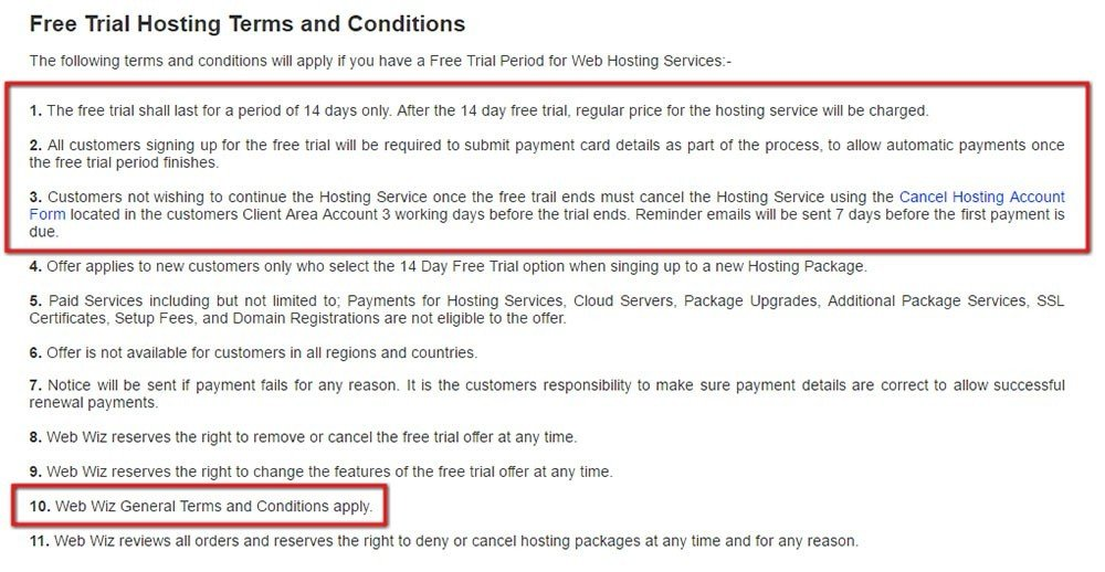 Screenshot from Web Wiz Free Trial Terms and Conditions