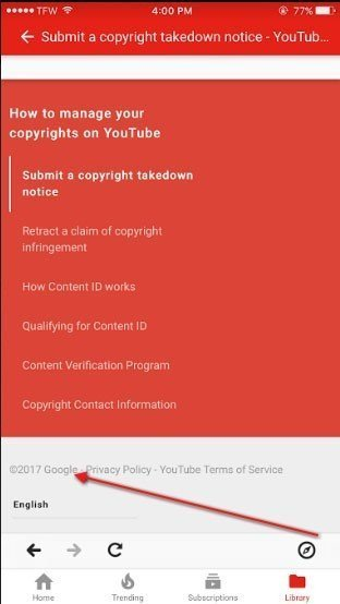 YouTube mobile app: Highlight the Google copyright notice