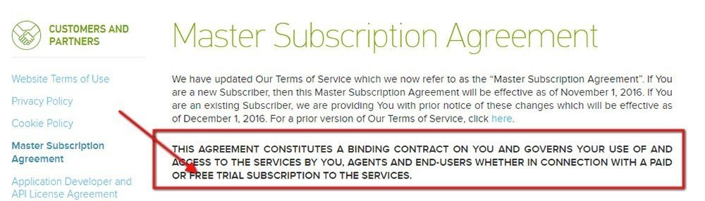 Zendesk: Free Trial Terms in Master Subscription Agreement